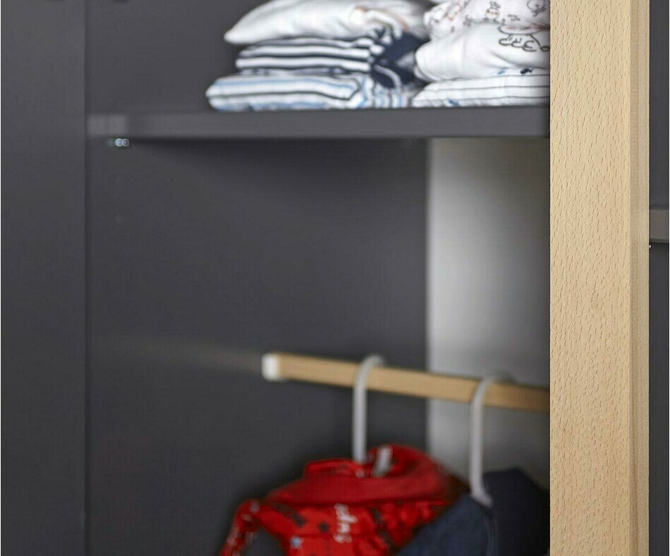 Armoire ado Willow gris anthracite avec penderie