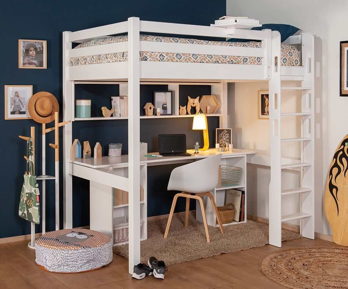 grand lit mezzanine enfant cancun gain de place made in. Black Bedroom Furniture Sets. Home Design Ideas