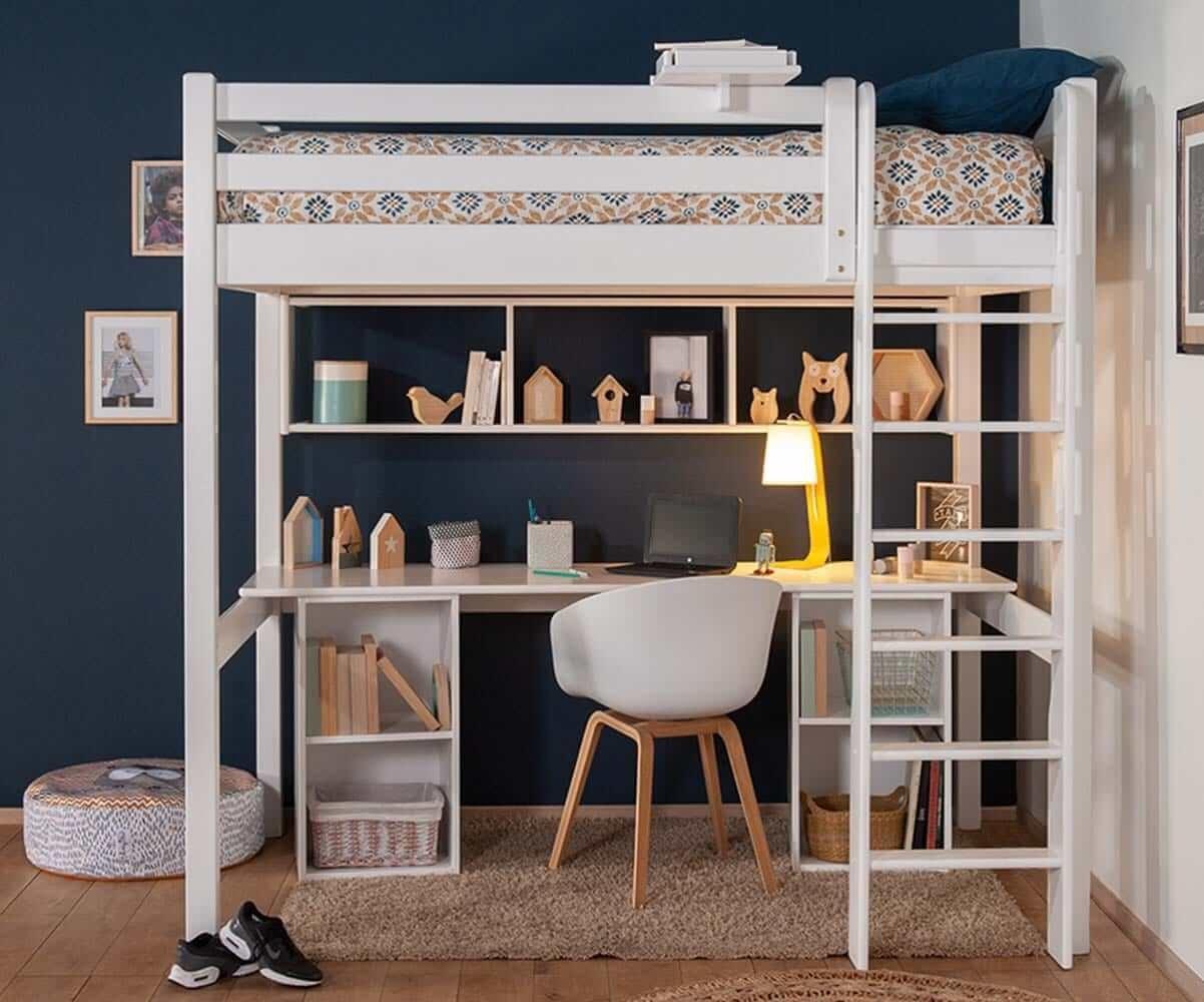 Lit Mezzanine pour Studio Etudiant - Mobilier en Bois pour Chambre Ado