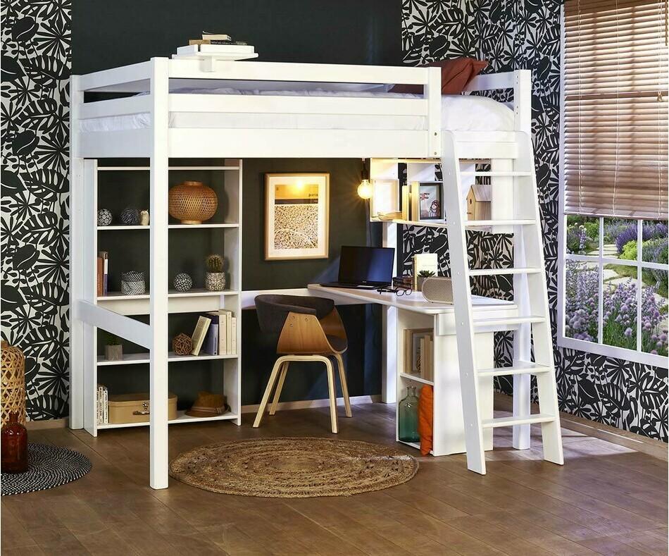 lit mezzanine enfant 2 places avec bureau  cancun pin massif