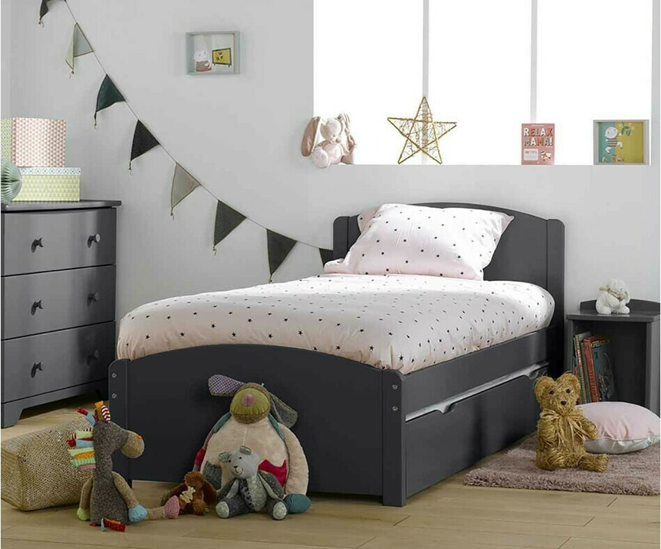 Lit enfant Nature Gris anthracite