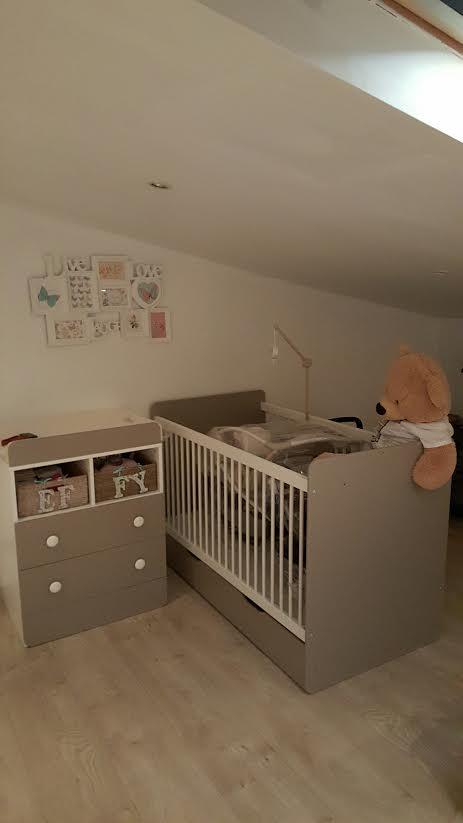 lit bebe evolutif malte taupe/blanc